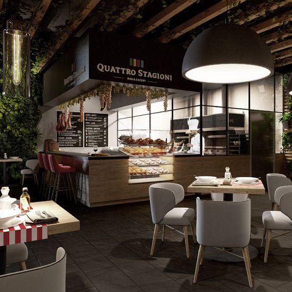 Projekt wnętrz restauracji Quattro Staggioni